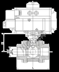 气动三片式球阀尺寸图