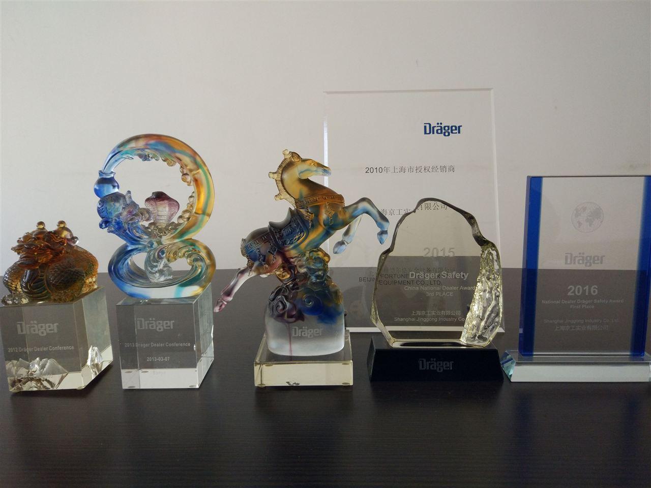 上海京工历年所获的德尔格奖牌