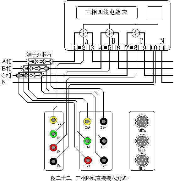 三相四线低压电能表经内部ct接入接线校验如图二十二