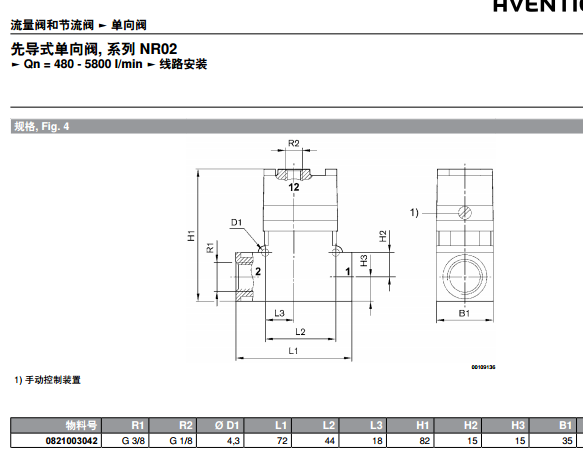 0821003029 aventics先导式单向阀曲线图图片