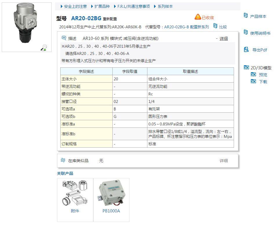 SMC氣動元件AR20-02BE-B